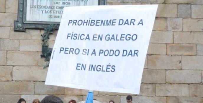Pancarta Prohíbenme dar a física en galego pero si a podo dar en inglés