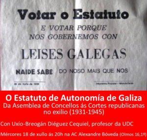 O Estatuto de Autonomía de Galiza