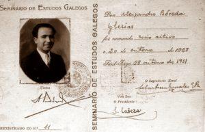 Carné de socio de Alexandre Bóveda