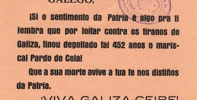 Panfleto do Partido Galeguista impreso en Ourense